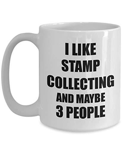 Lplpol Stempel-Sammeltasse Lover I Like Lustige Geschenkidee für Hobby Addict Neuheit Pun Kaffee Tee Tasse Lustig Stempel Sammeln Geschenk für Sammler 15 oz weiß