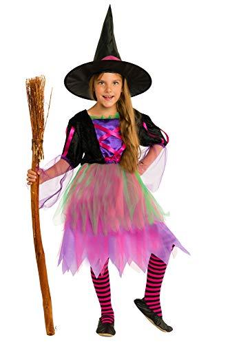 Magicoo Disfraz de bruja de colores neón para niñas, incluye vestido y sombrero, tallas de 110 a 140, disfraz de bruja para niños (110/116)