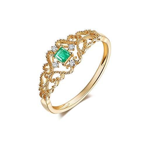 AueDsa Anillo Oro Anillos de Oro 18K Mujer Cuadrado con Hueco Esmeralda Verde Blanca 0.156ct Anillo Talla 22