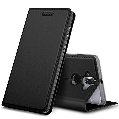 Nokia 8 Sirocco Cover, KuGi Slim Flip Cover Custodia per Nokia 8 Sirocco Smartphone (Flip Series - Nero)