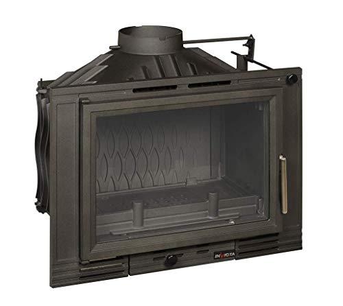 Invicta Foyer à bois 700 Minos en Fonte avec volet - 8 kW - Surface de Chauffe 40 à 100 m² - Flamme Verte 7 étoiles - Cheminée design encastrable
