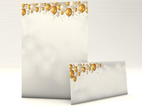 Motiefpapier met envelop nobele ballonnen 50 vellen A4 en 50 bijpassende envelop verjaardag jubileum felicitatie