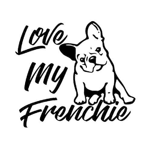 MEGNATIA 14.6X12.9CM Love My Frenchie French Bulldog Vinyl Decal Window Bumper Car Sticker Dog Black/Silver C24-1193