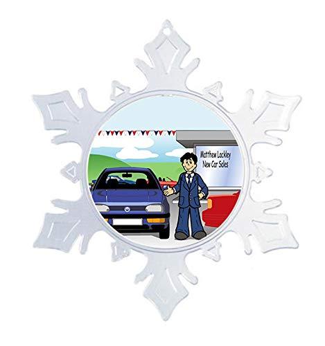 PrintedPerfection.com Personalized NTT Cartoon Snowflake Christmas Ornament: Car Sales, Auto Sales, Dealership - Male