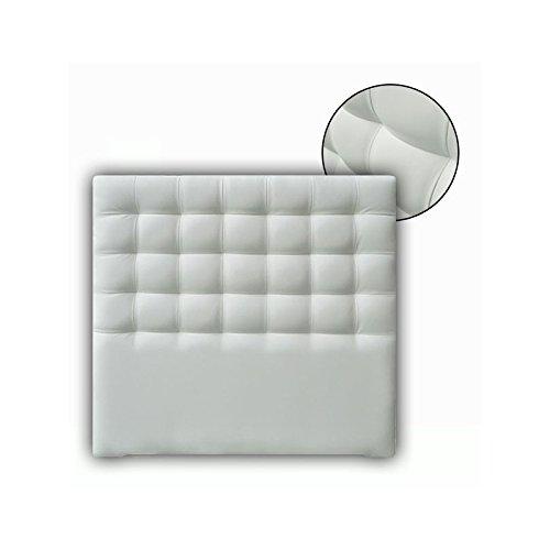 Ventadecolchones - Cabecero Tapizado Acolchado de Dormitorio Modelo Cube Largo en Polipiel Blanco Roto y Medidas 151 x 125 cm para Camas de 135 ó 150