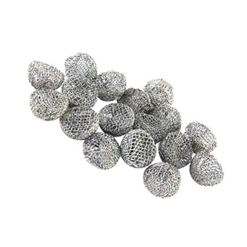 ULTNICE 100pcs pipa de tabaco filtro de bola de metal Filte filtros de tubo de fumar 20mm (plata)
