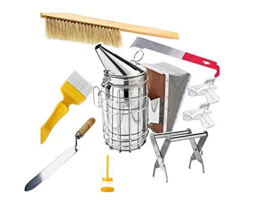 HunterBee Kit de herramientas de apicultura -8 piezas - Ahumador de colmena, accesorio de apicultura - Herramienta de cuidado de abejas