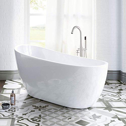 WOODBRIDGE White 54' Acrylic Freestanding Bathtub Contemporary Soaking Tub with Brushed Nickel Overflow and Drain, B-0006 / BTA1507