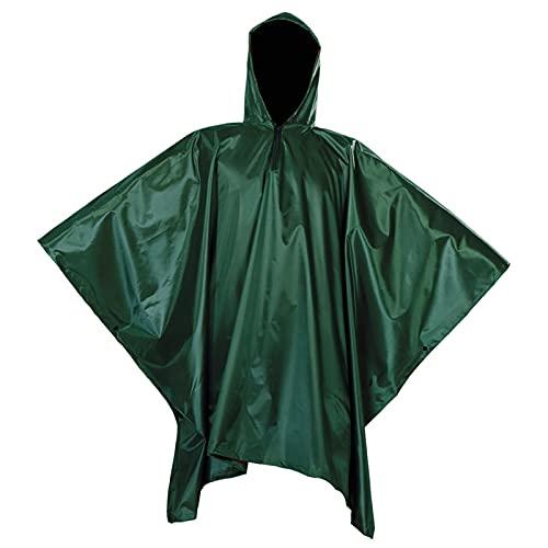 FUHU-SJZ Poncho Multifuncional de Supervivencia, 3 en 1 Impermeable para La Liuvia Estera para Tienda de Campaña al Aire Libre para Caza Senderismo (Color : Green)
