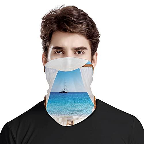 FULIYA Gran cara cubierta bufanda protección cuello, playa a través de una cama balinesa verano...