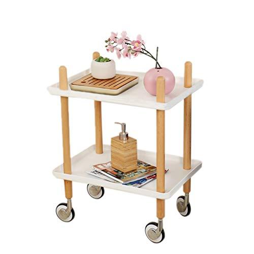 Moderne dubbellaagse bijzettafel, voor het opbergen van de wijn, voor het opbergen van de wijn of op de balkontafel met wieltjes