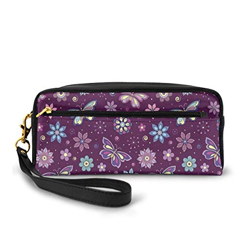 Pencil Case Pen Bag Pouch Stationary,Vortex Shapes with Polka Dots Background Flower Pattern Colorful Animal Design,Small Makeup Bag Coin Purse