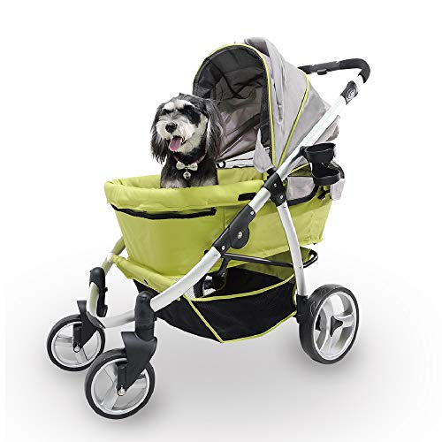 (Apple Green) - Dog Stroller for Large Dogs up to 77 Ibs, Aluminium Frame, 4-Wheel with Suspension