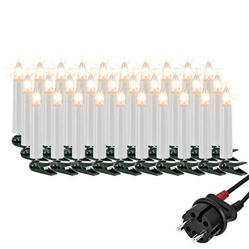 Hellum Lichterkette außen / 30 Glühfaden warm-weiß Riffelkerzen/Länge 29 m + 2x1,5 m Zuleitung, schwarzes Gummi-Kabel/Fassungsabstand 100 cm/teilbarer Stecker/Weihnachten / 843019