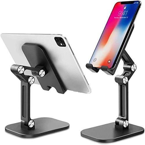 Zeuste Handy Ständer Tisch Handy Halter Handyhalterung Tisch Aufsteller tragbarer Handyständer für Huawei, Samsung, Xiaomi, Smartphone(SCHWARZ)