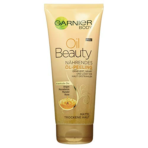 Garnier Oil Beauty voedende oliepeeling, lichaamspeeling voor diepe reiniging, met 4 beauty-oliën van argan, macadamia, amandel en roze, 200 ml