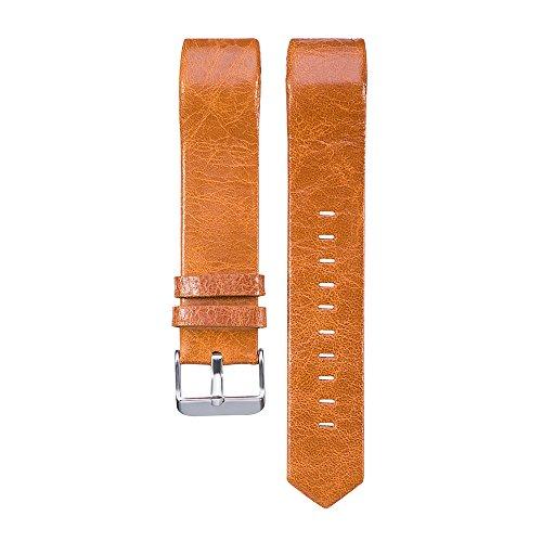 PINHEN Cinturini Compatibile per Fitbit Charge 2 Cinturino - Charge2 Pelle Braccialetto Fitness Accessori Cinturino di Ricambio per Fitbit Charge 2 (Light Brown)