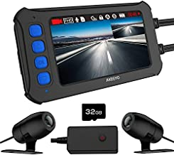 AKEEYO Motorcycle Dash Camera, IP67 Waterproof FHD 1080P Front and Rear 120° Wide Angle 3 Inch IPS Screen with WDR, Supercapacitor, G-Sensor, Loop Recording