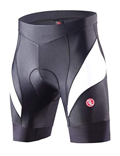 Souke Sports Pantaloncini Ciclismo Uomo,Pantaloncini da Bicicletta Imbottiti 4D,Calzoncini Ciclista,Pantaloncino Spinning,Pantaloncini Fondello MTB,Traspiranti,Asciugatura Rapida