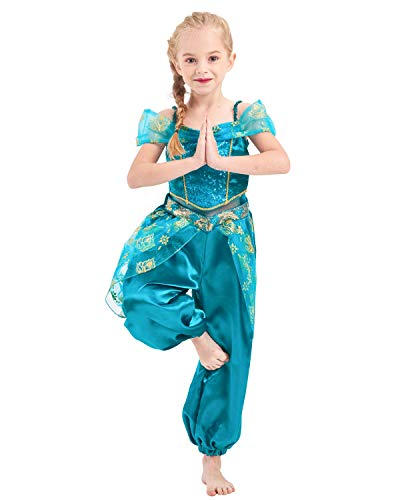 IKALI Déguisement de Princesse Fille Combinaison Jasmine Pour Enfants Tenues De Fête D'anniversaire À Paillettes Halloween