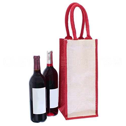 "CleverDelights 10 Pack 4-Bottle Burlap Wine Totes - 14"" x 6"" x 6"" - 100% Natural Jute Burlap"