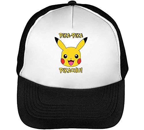 Pika Pika Pikachu Gorras Hombre Snapback Beisbol Negro Blanco One Size