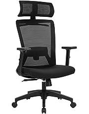 SONGMICS Bureaustoel, bureaustoel, ergonomische bureaustoel met kleerhanger, netbespanning, verstelbare hoofdsteun, in de hoogte verstelbare rugleuning, kantelhoek tot 120°, zwart OBN057B02