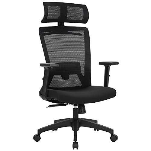 SONGMICS Bürostuhl, Schreibtischstuhl, ergonomischer Drehstuhl mit Kleiderbügel, Netzbespannung, verstellbare Kopfstütze, höhenverstellbare Rückenlehne, Neigungswinkel bis 110°, schwarz OBN057B02