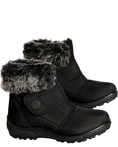 Anna Almeida Womens Casual Round Toe Fur Top Velcro Strap Short Ankle Snow Boot,Black,8