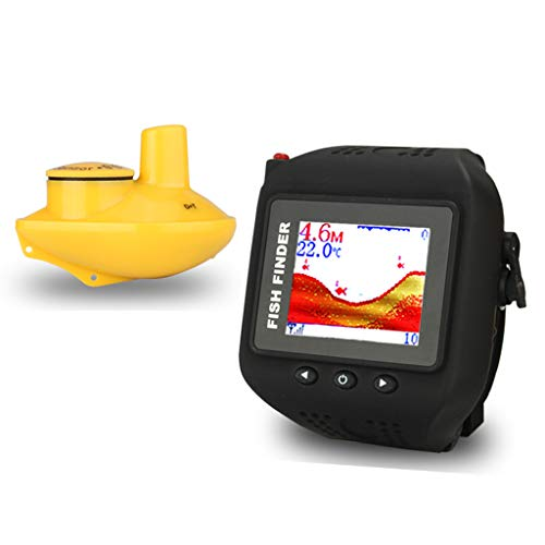 buscador de peces, diseño de reloj, buscador de profundidad de peces, sensor de sonar inalámbrico de 200 pies, alcance inalámbrico de 150 pies, profundidad de agua recargable, para pesca en hielo