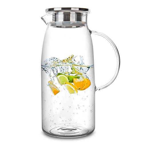 60 Ounces Glass Pitcher with Lid, Hot/Cold Water Jug, Juice and Iced Tea Beverage Carafe