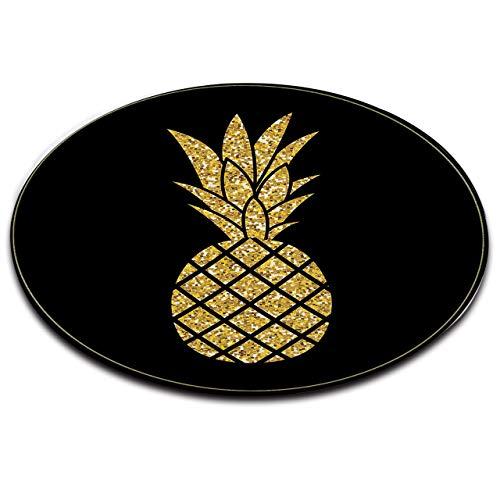 Fruit Tropical Ananas Or Fond Noir Tapis de Bain Tapis de Sol Rond Salon Chambre à Coucher Salle de Bain Cuisine Tapis de Sol Tapis Doux Décor à la Maison,60x60 CM