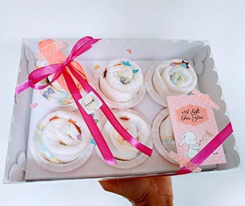 Caja Elegante con Cupcakes hechos con Pañales DODOT | Baby Shower Gift Idea, Obsequio para bautizo, Recuerdo para Invitados, Regalo para Bebé | Versión Rosa, Para Niñas