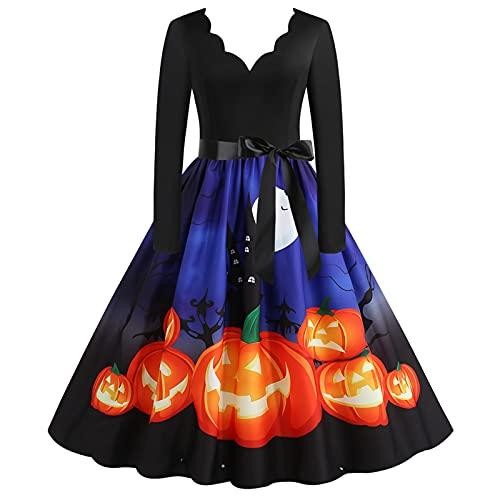 HuiBOYS Halloween Vestidos de la Vendimia de la Impresión Cuello Redondo Manga Larga del Vestidos de Fiesta Vestir Skirt Estampado Floral Elegante Fiesta Vintage Vestido (Blue 1, XXL)