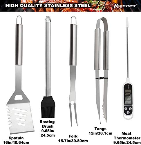 ROMANTICIST 28pc BBQ Accessories Set with Thermometer