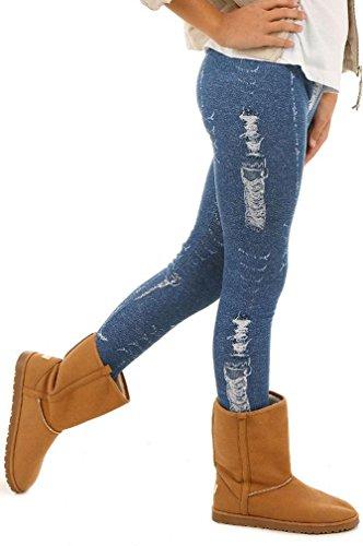 Dykmod Mädchen Warm Thermo Leggings Leggins Winter Muster Jeans Optik 116-158, Jeans-optik, 128