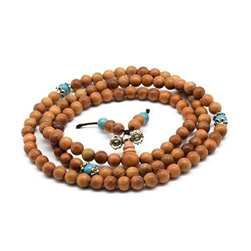 Zen Dear ユニ 天然イチの木 マラ祈り ブレスレット リンク リスト ネックレス チェーン 仏教 祈り マーラービーズ, ウッド, 木,