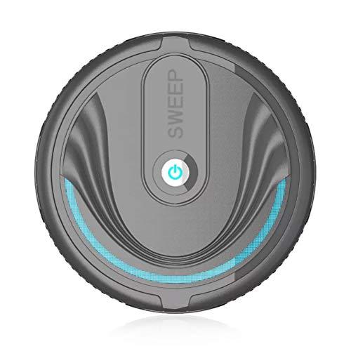 Robot Aspirador, Robot Aspirador Automático, Cepillo De Cerdas para Alfombras De Pelo Corto, USB Recargable (Negro/Batería)