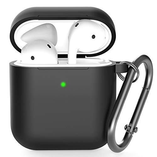 Airpods Case , BELONGME Airpods Silicone Case Cover with Keychain, 360°Protective AirPods Accessories Kits Shockproof Airpods Case Compatible with Apple Airpods 2 &1 (Front LED Visible) (Black)