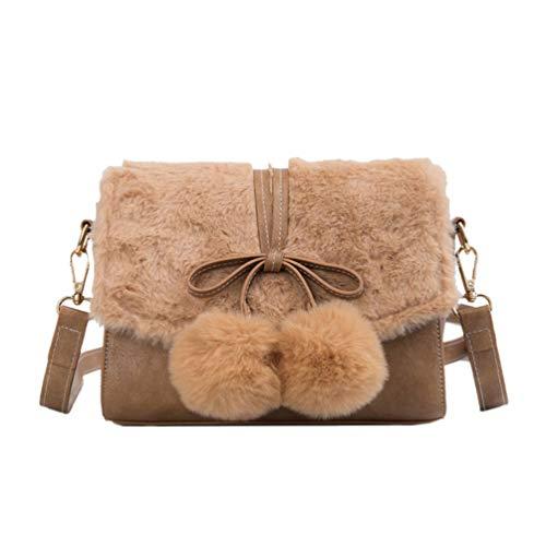 TENDYCOCO borsa a tracolla in pelliccia sintetica borsa a tracolla fuzzy borsa a tracolla in peluche bowknot per donna