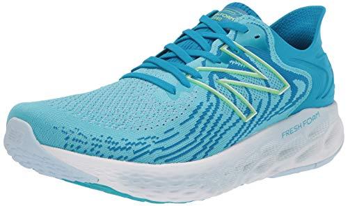 New Balance Women's 1080 V11 Running Shoe, Virtual Sky/Bleached Lime Glo, 10 Narrow