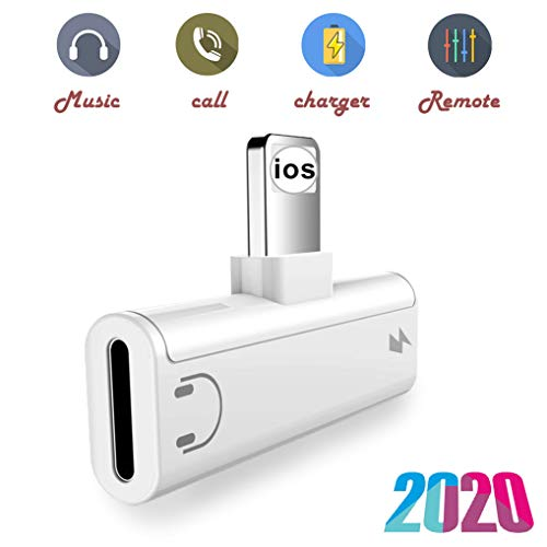 Headphone Adapter Jack Splitter for iPhone X Adapter Audio & Charger & Call & sync Car Charger Cable for iPhone7/7 Plus/8/8 Plus/X/XR/XS/XS MAX Dongle Connector Adapter Support All iOS System
