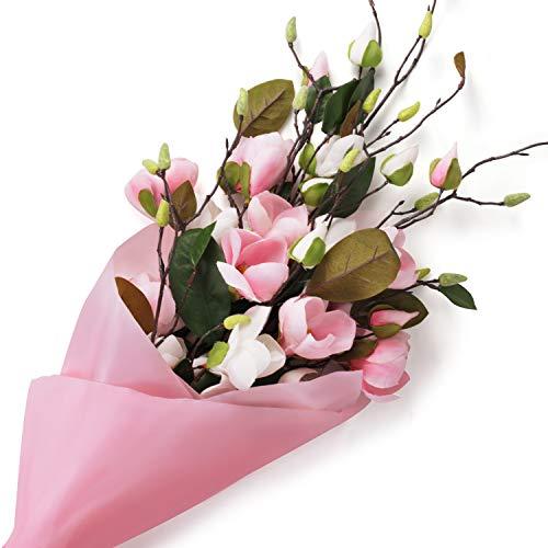 Love Bloom Künstliche Magnolien Blumen (4 Packung) - 75cm 2 Weiß und 2 Pink Magnolienzweig - Magnolien Strauß für Hochzeit, Tischdeko, Wohnaccessoire Deko, Blumen Gesteck, Party Deko, Garten