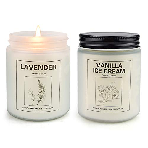 Vanilla Ice Cream and Lavender Candles for Home Scented, Aromatherapy Candle 2 pcs, Soy Wax Candle Set, Women Valentine Gift with Strongly Fragrance Jar Candles
