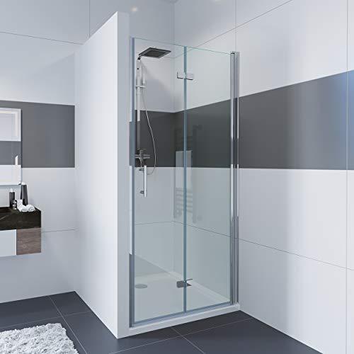 IMPTS Nischentür Duschabtrennung Nische Duschkabine 100cm Rahmenlos Einzelfalttür Falttür Duschtür Dusche 6mm Nano Glas Höhe:195cm