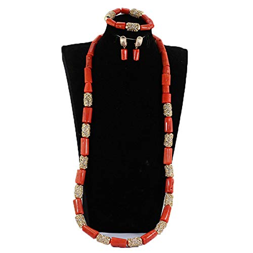 2018 Women Fashion Jewelry Set Coral Bead Cluster Collar Bib Choker Necklace and Earrings Suit (1 long)