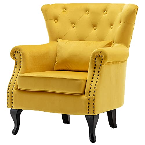Upholstered Wing Back Armchair for Living Room Bedroom Velvet Accent Chair Single Sofa Side Chair with Wood Leg Tub Chair (yellow)