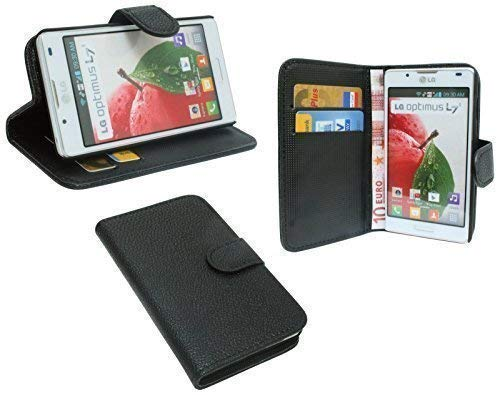 ENERGMiX Buchtasche kompatibel mit LG P710 Optimus L7 2 Hülle Case Tasche Wallet BookStyle mit STANDFUNKTION Schwarz