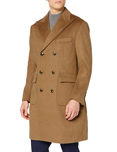 Marca Amazon - find. Wool Mix Double Breasted Smart Abrigo Hombre, Marrón (Camel), L, Label: L