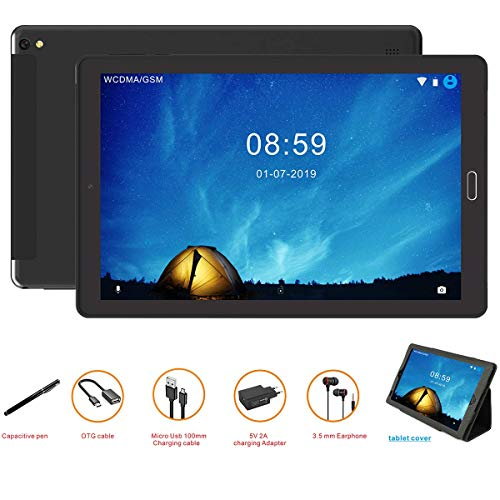 Tablet 10 Pollici Tablet Android 8.0 4G con 3 slot (Dual SIM + SD) Processore Quad Core, 1.5GHz 3G + 32GB Doppia Fotocamera WiFi Bluetooth GPS
